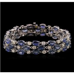 37.44ctw Blue Sapphire and Diamond Bracelet - 14KT White Gold