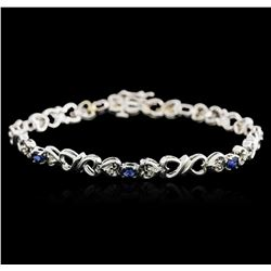 14KT White Gold 0.70ctw Sapphire and Diamond Bracelet