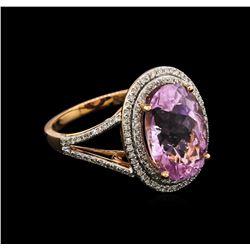 7.76ct Kunzite and Diamond Ring - 14KT Rose Gold