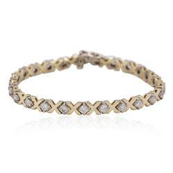 14KT Yellow Gold 2.23ctw Diamond Tennis Bracelet