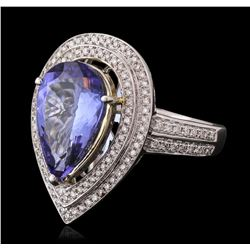 14KT Two-Tone Gold 4.23ct Tanzanite and Diamond Ring