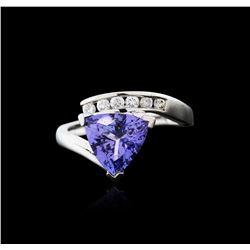 14KT White Gold 2.51ct Tanzanite and Diamond Ring