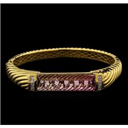 19.46ct Bi-Color Tourmaline and Diamond Bangle Bracelet - 18KT Yellow Gold