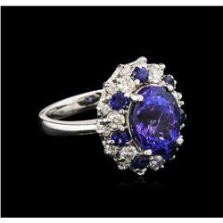 4.82ct Tanzanite, Blue Sapphire and Diamond Ring - 14KT White Gold