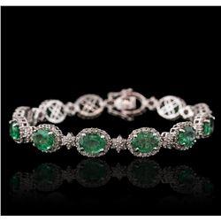 14KT White Gold 10.60ctw Emerald and Diamond Bracelet