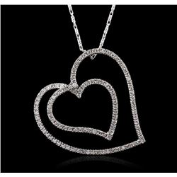 14KT White Gold 0.86ctw Diamond Pendant With Chain