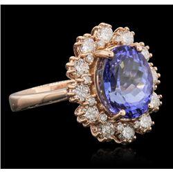 14KT Rose Gold 4.04ct Tanzanite and Diamond Ring