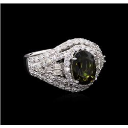GIA Cert 2.75ct Alexandrite and Diamond Ring - 14KT White Gold