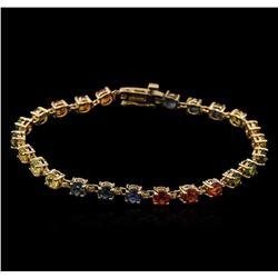 9.60ctw Multi Color Sapphire Bracelet - 14KT Yellow Gold