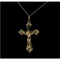 14KT Yellow Gold Cross Pendant With Chain