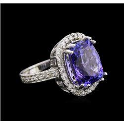 9.26ct Tanzanite and Diamond Ring - 14KT White Gold