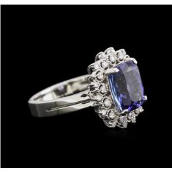 4.17ct Tanzanite and Diamond Ring - 14KT White Gold