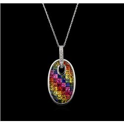 5.22ctw Multi Sapphire and Diamond Pendant With Chain - 14KT White Gold
