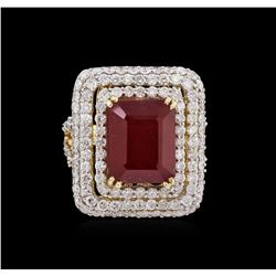 9.26ct Ruby and Diamond Ring - 14KT Yellow Gold