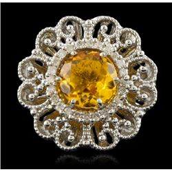 14KT White Gold 3.40ct Citrine & Diamond Ring