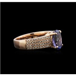 2.13ct Tanzanite and Diamond Ring - 14KT Rose Gold