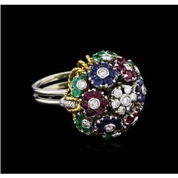 3.90ctw Sapphire, Ruby, Emerald and Diamond Ring - 18KT Two-Tone Gold