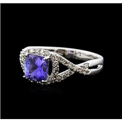 14KT White Gold 1.22ct Tanzanite and Diamond Ring