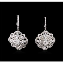 2.73ctw Diamond Dangle Earrings - 14KT White Gold