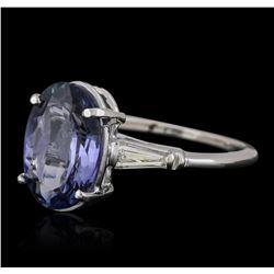 14KT White Gold 3.35ct Tanzanite and Diamond Ring