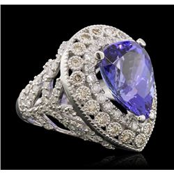 14KT White Gold 9.78ct Tanzanite and Diamond Ring