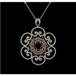 14KT Two-Tone Gold 1.42ctw Diamond Pendant With Chain