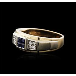 14KT Two-Tone Gold 0.40ctw Sapphire and Diamond Ring