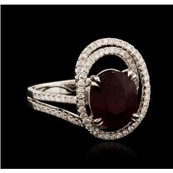 18KT White Gold 3.89ct Ruby and Diamond Ring