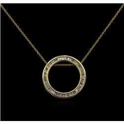 0.25ctw Diamond Circle Pendant With Chain - 14KT Yellow Gold