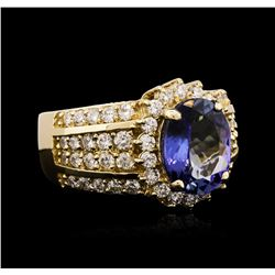 14KT Yellow Gold 3.29ct Tanzanite and Diamond Ring
