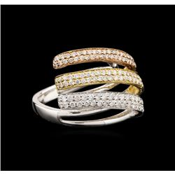 18KT Tri-Color Gold 0.98ctw Diamond Ring