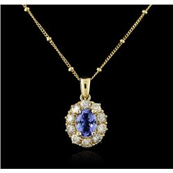 14KT Yellow Gold 2.24ct Tanzanite and Diamond Pendant With Chain