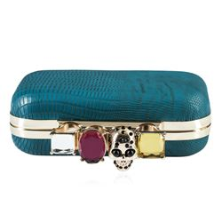 Teal Blue Textured Evening Clutch