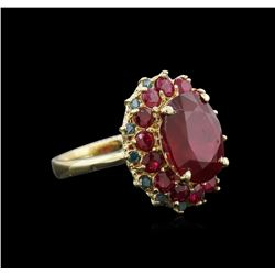 10.29ctw Ruby and Diamond Ring - 14KT Yellow Gold