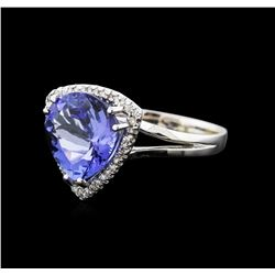 14KT White Gold 5.80ct Tanzanite and Diamond Ring