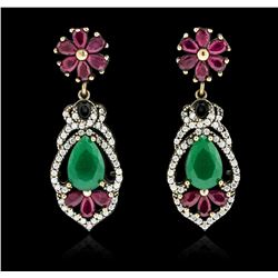 10.44ctw Green Crystal and Multi Gemstone Earrings - 925 SILVER