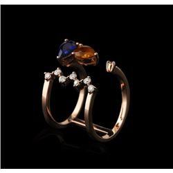 14KT Rose Gold 1.62ctw Sapphire and Diamond Ring