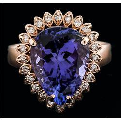14KT Rose Gold 6.11ct Tanzanite and Diamond Ring