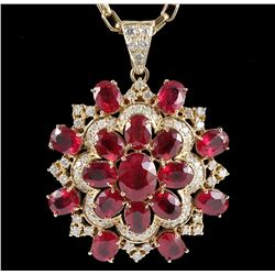 14KT Yellow Gold 34.26ctw Ruby & Diamond Pendant with Chain