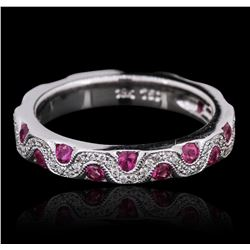 18KT White Gold Pink Sapphire and Diamond Ring