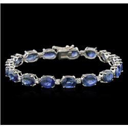 32.64ctw Blue Sapphire and Diamond Bracelet - 14KT White Gold
