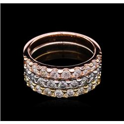 1.65ctw Diamond Stackable Rings - 14KT Tri-Color Gold