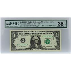 2003A $1 Mismatched S/N Error Federal Reserve Note PMG Choice Very Fine 35 EPQ