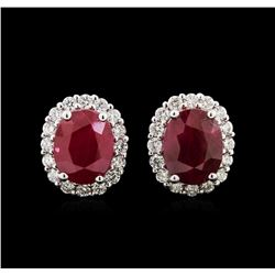 5.76ctw Ruby and Diamond Earrings - 18KT White Gold