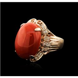 14KT Rose Gold 20.93ct Coral and Diamond Ring
