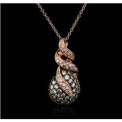 14KT Rose Gold 0.50ctw Diamond Pendant With Chain