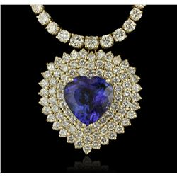 14KT Yellow Gold 13.62ct Tanzanite and Diamond Necklace