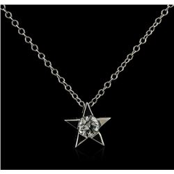 14KT White Gold 0.20ct Diamond Star Pendant With Chain