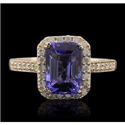 14KT Yellow Gold 1.69ct Tanzanite and Diamond Ring