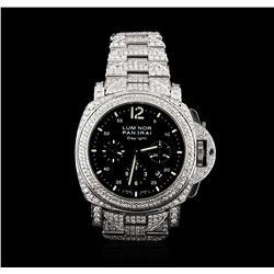 Panerai Stainless Steel 14.00ctw Diamond Luminor Daylight Watch